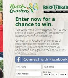 Busch Gardens Sweepstakes - busch gardens sweepstakes win a family vacation sweeps maniac
