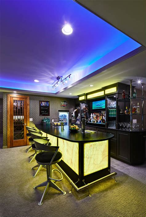 Residential Bars Residential Basement Remodel Bar And Contemporary