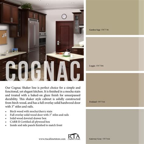 color palette to go with our cognac shaker kitchen cabinet