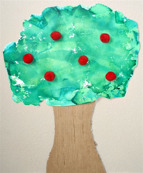 Tissue Paper Tree Craft - tissue paper apple tree craft