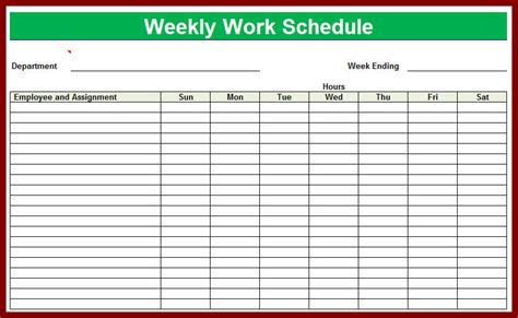 weekly work schedule template free download blank