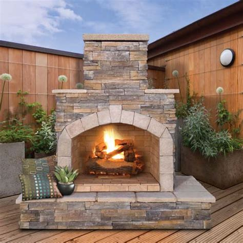 calflame natural stone propane gas outdoor fireplace log