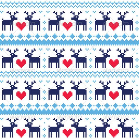 nordic pattern ai nordic seamless pattern with deer and hearts by redkoala