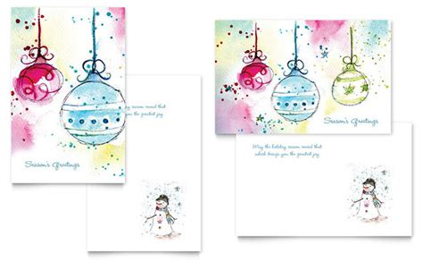 microsoft greeting card templates whimsical ornaments greeting card template design