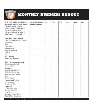 business monthly budget template business budget template 8 free pdf excel documents