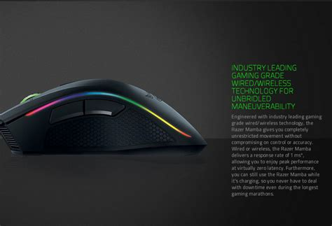 Razer Mamba 16000 Wired Wireless Chroma Gaming Mouse 2 razer mamba chroma professional grade wired wireless gaming mouse