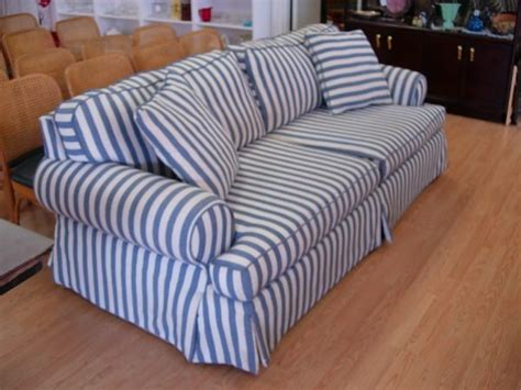 blue and white couch 11278 modern sofa blue white striped cotton denim comf
