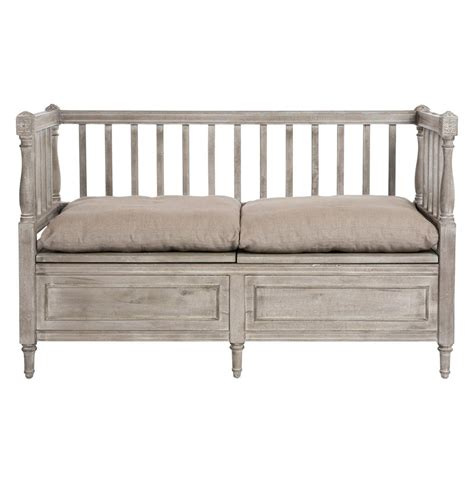french provincial bench damita french country weathered grey storage bench sofa