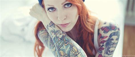 tattooed redhead tattooed wallpaper hd wallpaper 2560x1440 hd