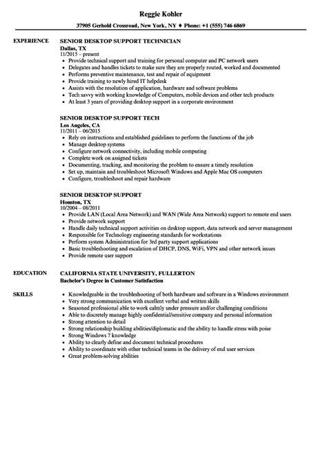 Desktop Support Resume by Senior Desktop Support Resume Sles Velvet