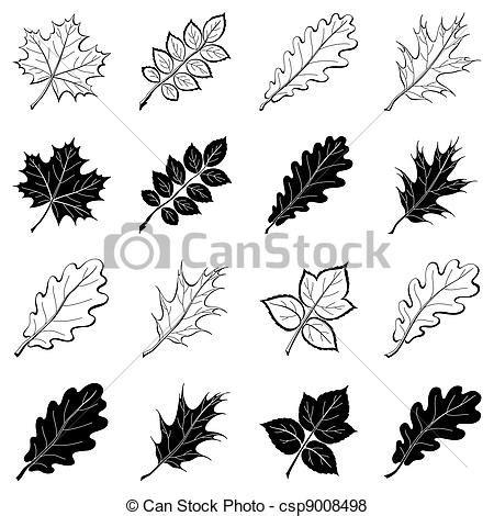 imagenes de hojas a blanco y negro stock de ilustraciones de plantas hojas siluetas