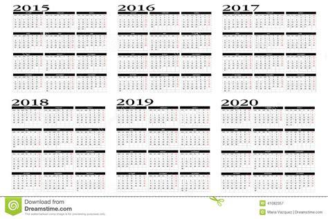 Calendar B C Calendario 2015 A 2020 Ilustraci 243 N Vector Imagen De