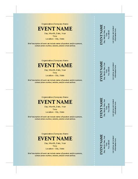printable event tickets event ticket template new calendar template site