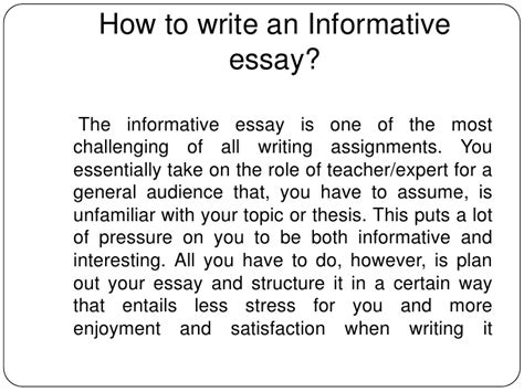 Informative Essay Introduction Exles by How To Write An Informative Essay