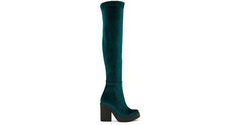 gal miista emi velvet thigh high boot teal in blue
