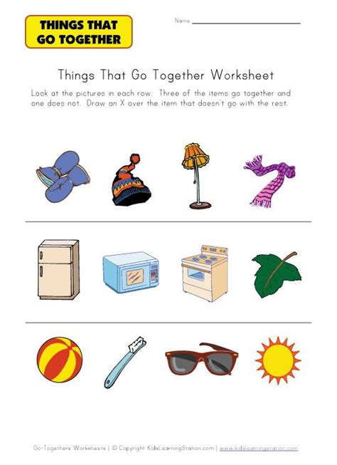 go togethers worksheet for kids speech therapy