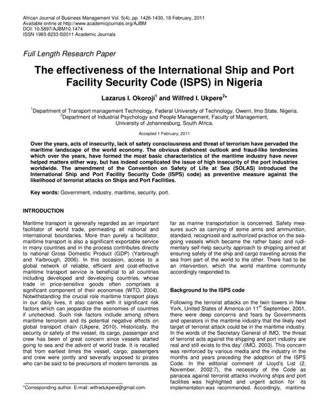 international ship and facility security the effectiveness of the international pdf