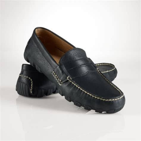 black polo loafers lyst polo ralph arkley tumbled loafer in