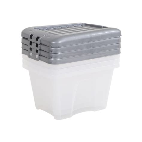 bathroom storage boxes with lids buy plastic 14 litre nice box lid pack of 4 silver lid