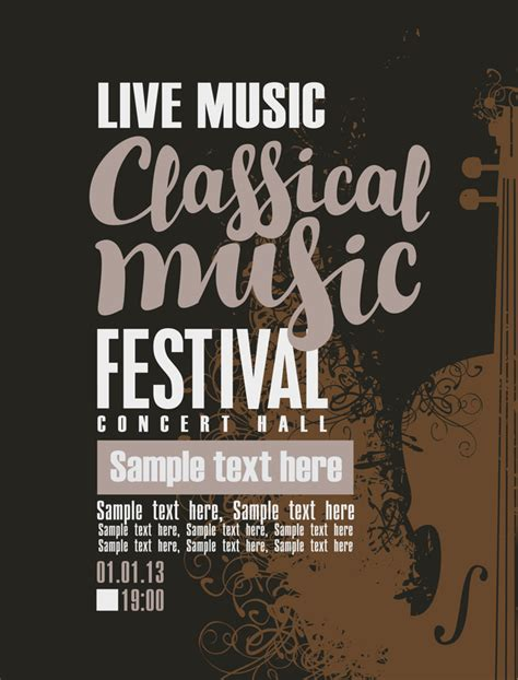 Classical Music Retro Concert Poster Template 11 Vector Cover Vector Music Free Download Concert Poster Template