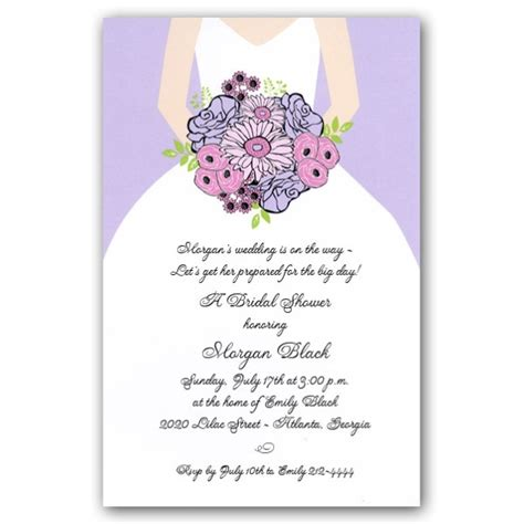 sle invitation wording for bridal shower lilac bouquet bridal shower invitations paperstyle