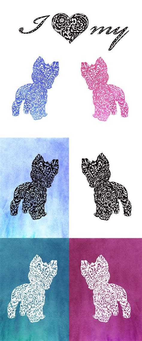yorkie svg yorkie svg zentangle silhouette terrier clip by valrart