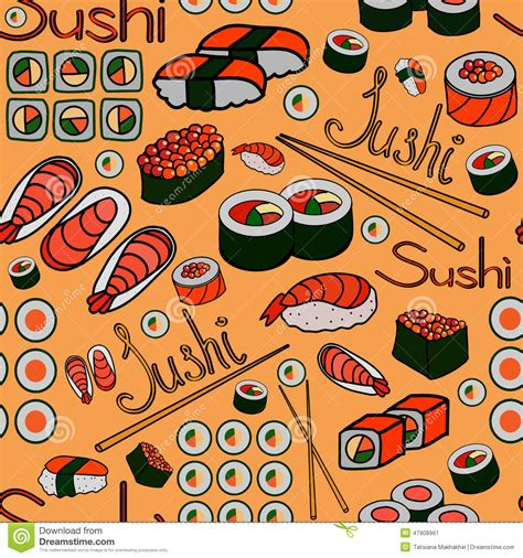 japanese meal pattern seamless japanese food pattern stock vector image 47908961
