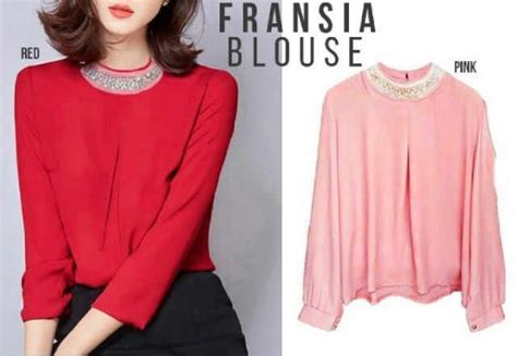 Baju Blouse Atasan Atasan Wanita Baju Merah baju atasan wanita fransia blouse model busana kerja