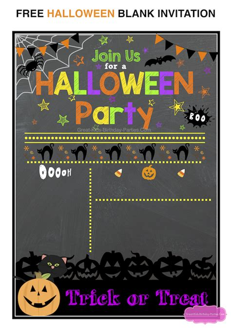 templates for halloween party invitations free halloween printables