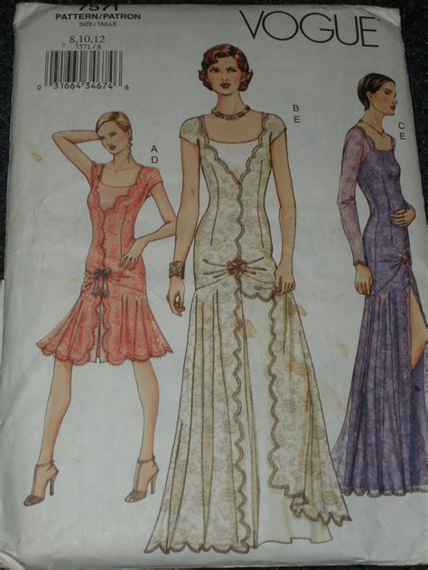 dress pattern evening wear vogue pattern 7571 evening gown cocktail dress 1920 s