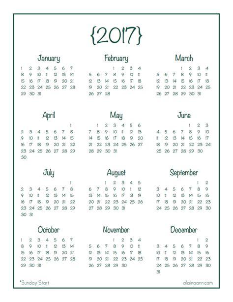printable calendar year at a glance 2017 year at a glance calendar free printable alaina