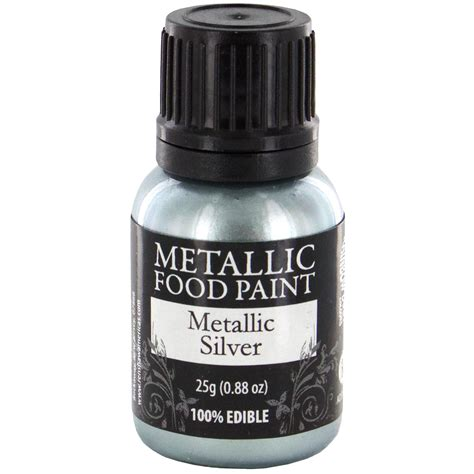 Dijamin Silicone Brush Metallic metallic food paint metallic silver by rainbow dust cake decorating pens