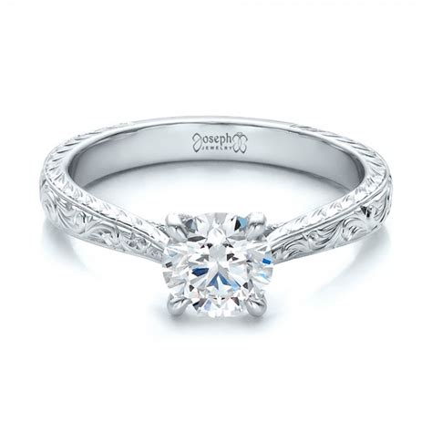 Engraved Engagement Rings by Custom Engraved Solitaire Engagement Ring 100608