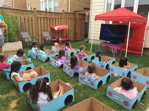 backyard drive in leah s drive in movie birthday party it s daylight so a projector screen probably