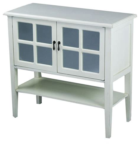 2 Door Console Cabinet With Mirror Insert And Bottom Shelf