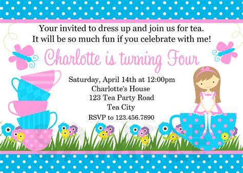 Home invitations girls invitations tea party birthday invitation