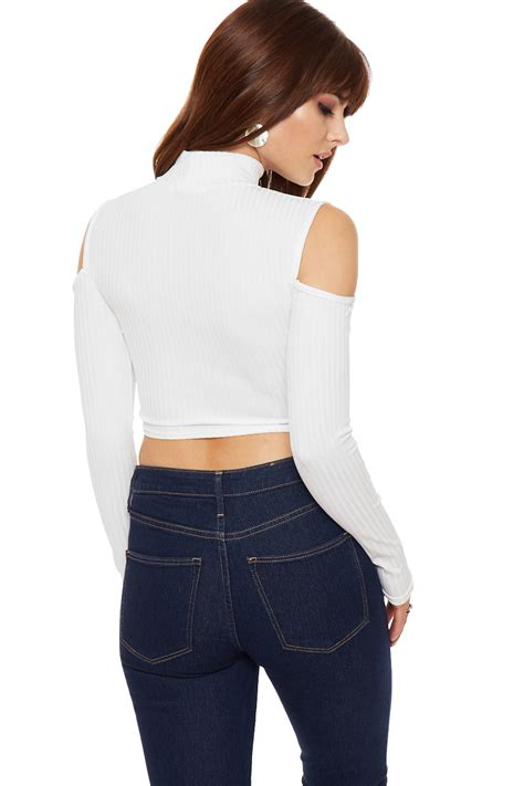 Lo644 Shoulder Turtle Neck Top womens cut out shoulder crop top ribbed sleeve turtle