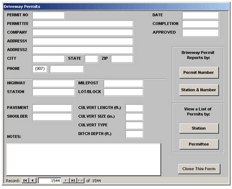 access application for tracking driveway permits