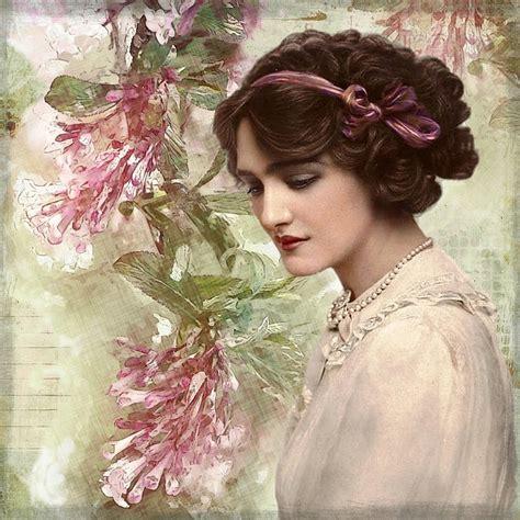 lade vintage free illustration vintage digital floral