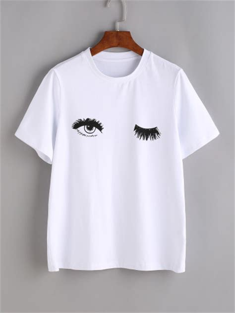 Pocket Big Top Fashion Wanita Blouse Simple Promo Murah Atasan Bl white wink print t shirt emmacloth fast fashion