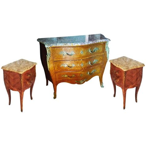 Louis Xv Bedroom Furniture Louis Xv Bedroom Set Commode And Nightstand Tables For Sale At 1stdibs