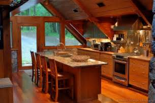 Wood cabin kitchen with vaulted ceilings 2 of 2