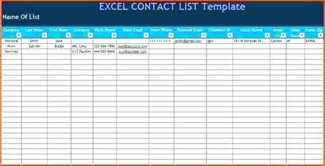 excel mailing list template excel template contact list contact list template excel