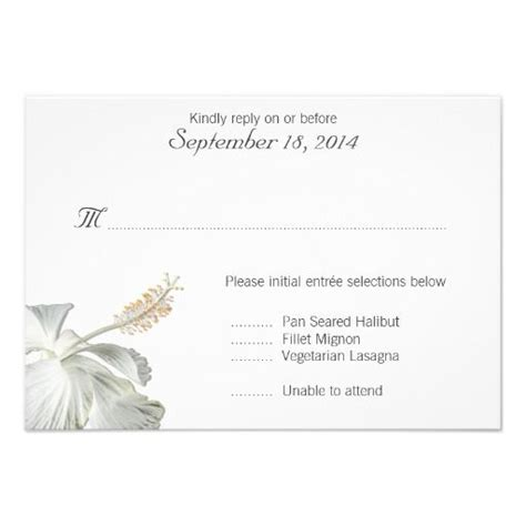 White Hibiscus Tropical Themed Rsvp Card With Wedding Menu Selection Template Wedding Wedding Menu Selection Template