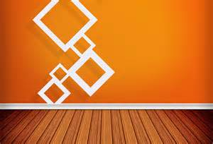 Interior design orange wall and wooden floors