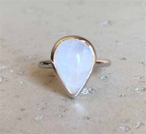 moonstone promise ring pear shape moonstone ring simple