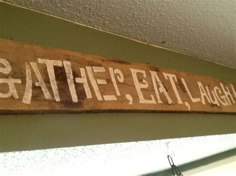 gather eat laugh wooden kitchen sign rustic kitchen