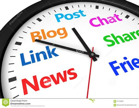 world of color times social media time management stock illustration image