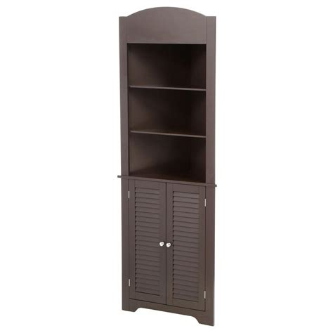 Corner Storage Cabinet Riverridge Home Ellsworth 23 1 4 In W X 68 3 10 In H X 11 1 2 D Corner Bathroom Linen Storage