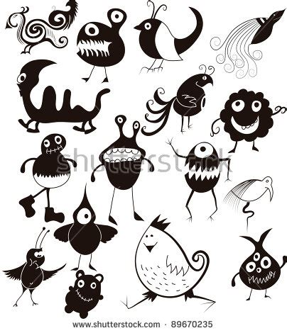 many doodle monsters vector many doodle monsters stock vector 63165949